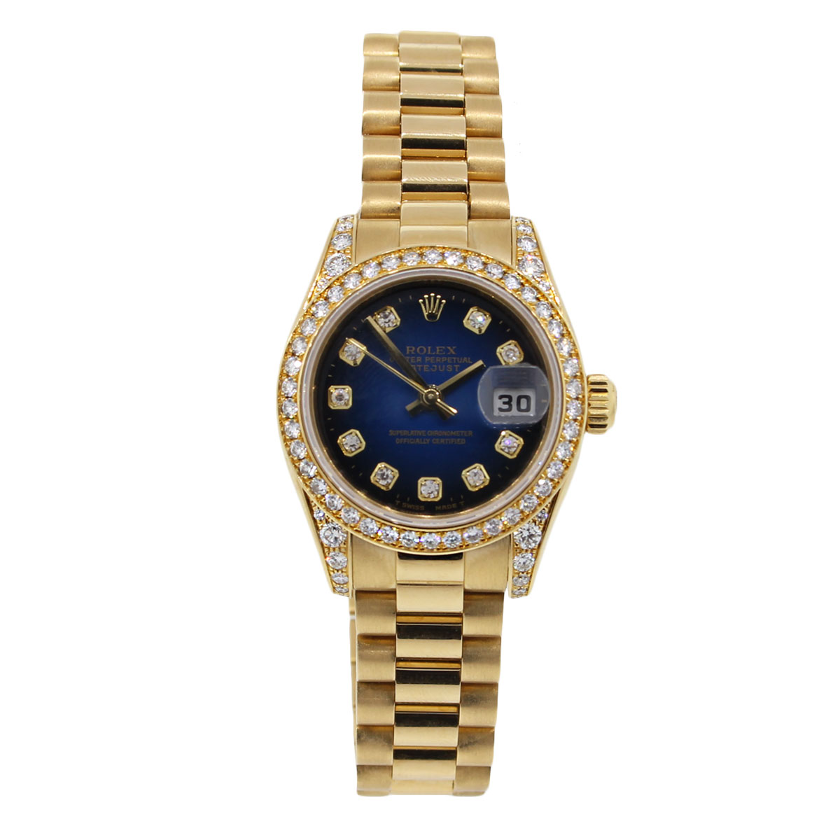 Rolex datejust gold diamond dial ladies watch for Diamond dial watch