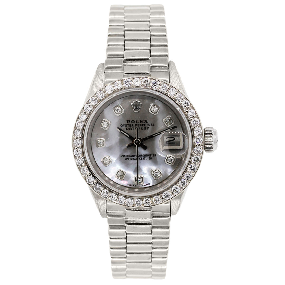 Rolex 6917 datejust presidential mop diamond dial ladies watch for Diamond dial watch