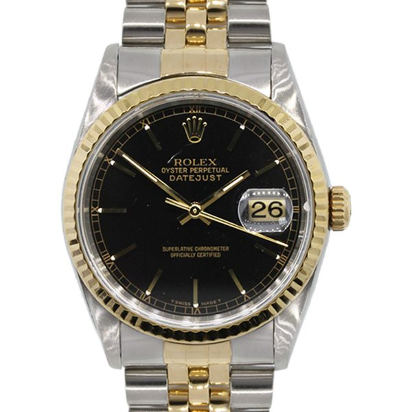 Rolex 16233 Datejust Two Tone Black Dial Watch