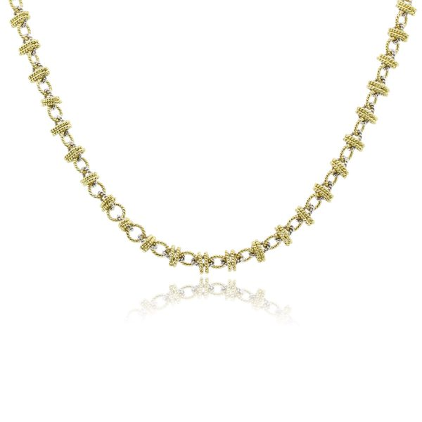 18k Two Tone Gold twisted rope necklace