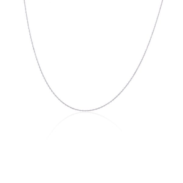 14k White Gold Thin Link Chain Necklace