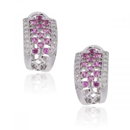 18k White Gold 0.32ctw Diamond and Pink Sapphire Earrings