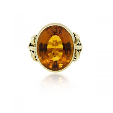 14k Yellow Gold Large Oval Citrine Ring