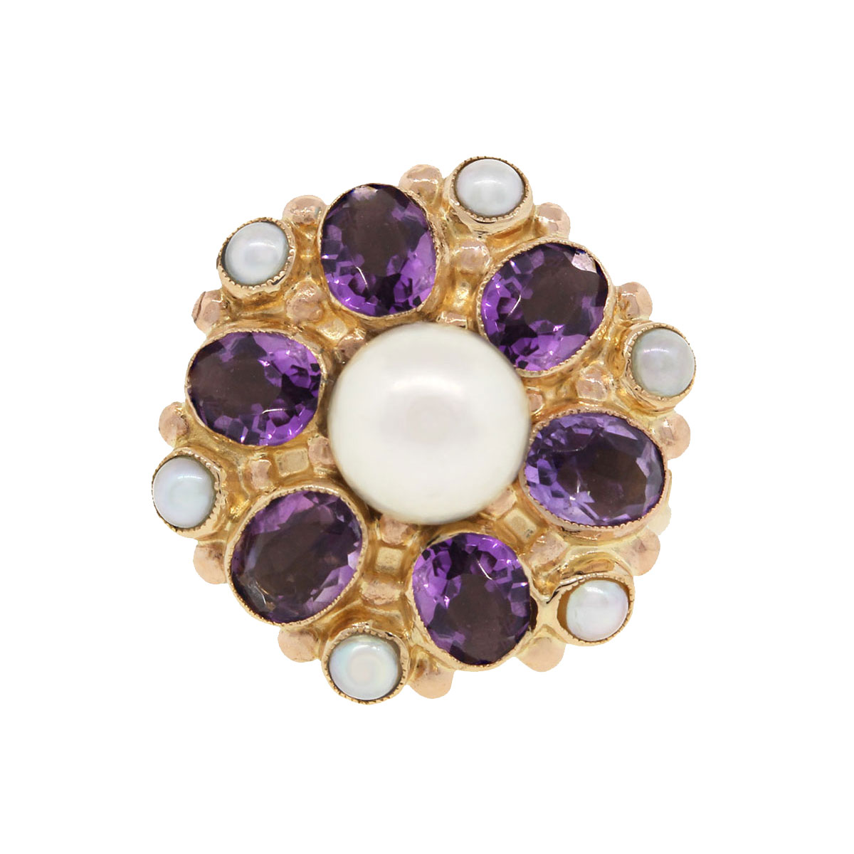 14k Yellow Gold Amethyst Pearl Vintage Ring