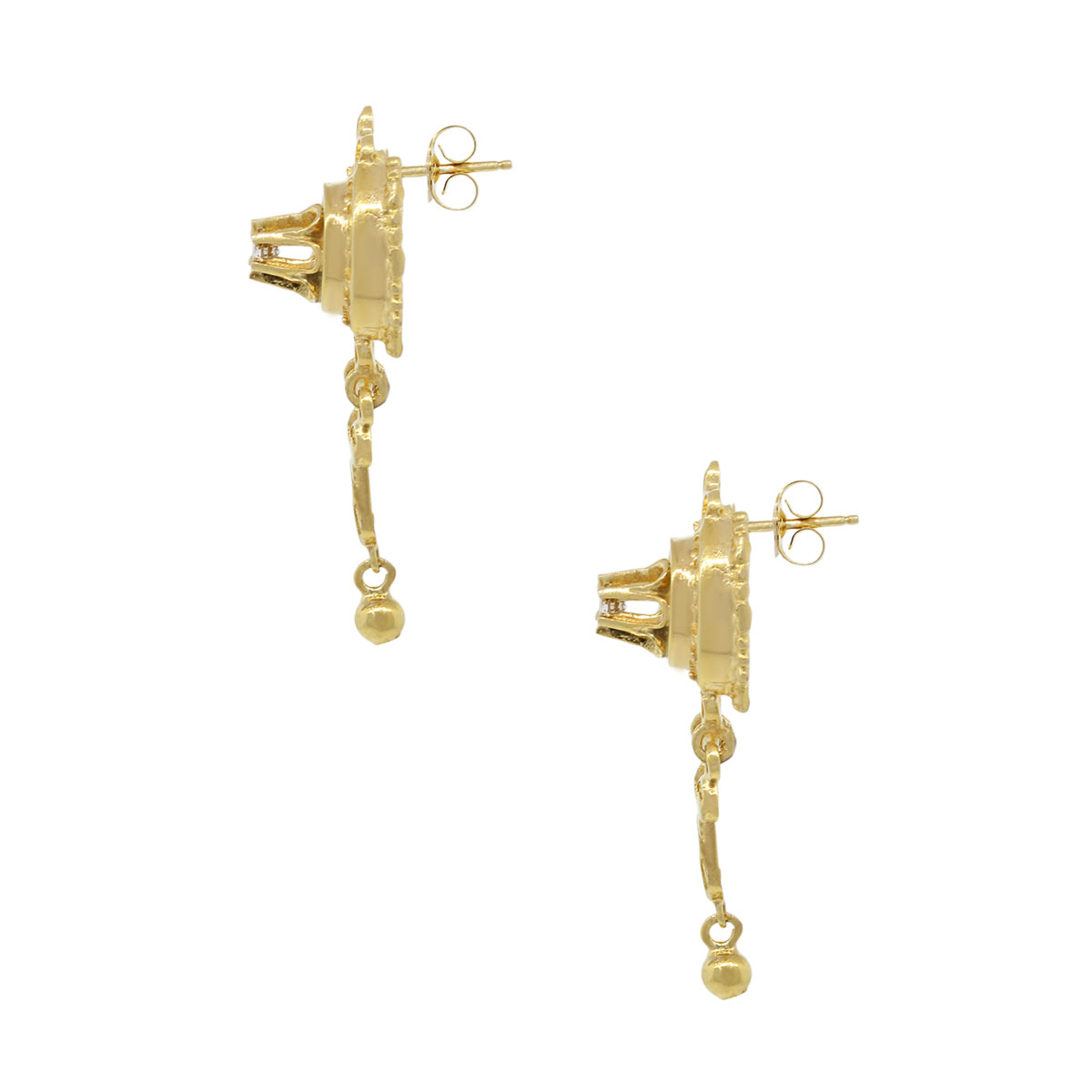 14k yellow gold diamond vintage earrings with. Black Bedroom Furniture Sets. Home Design Ideas