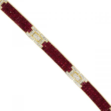 18k Yellow Gold 2.16ctw diamond and 8.5ctw ruby bracelet