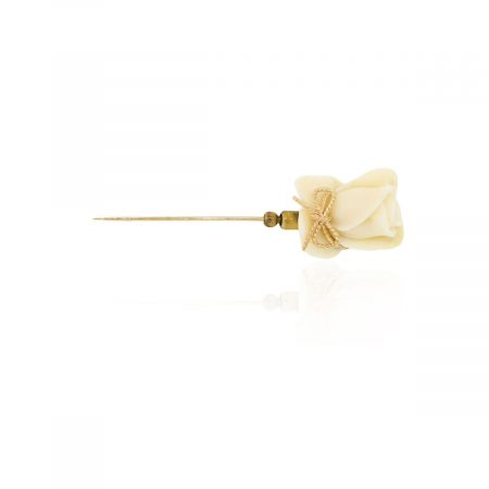 14k Yellow Gold Coral Flower Stick Pin