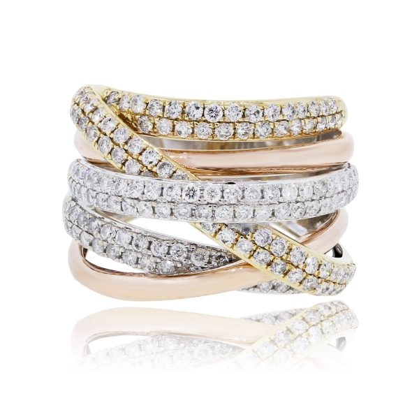 Effy 14k Tri Gold 2.25ctw Diamond Crossover Ring