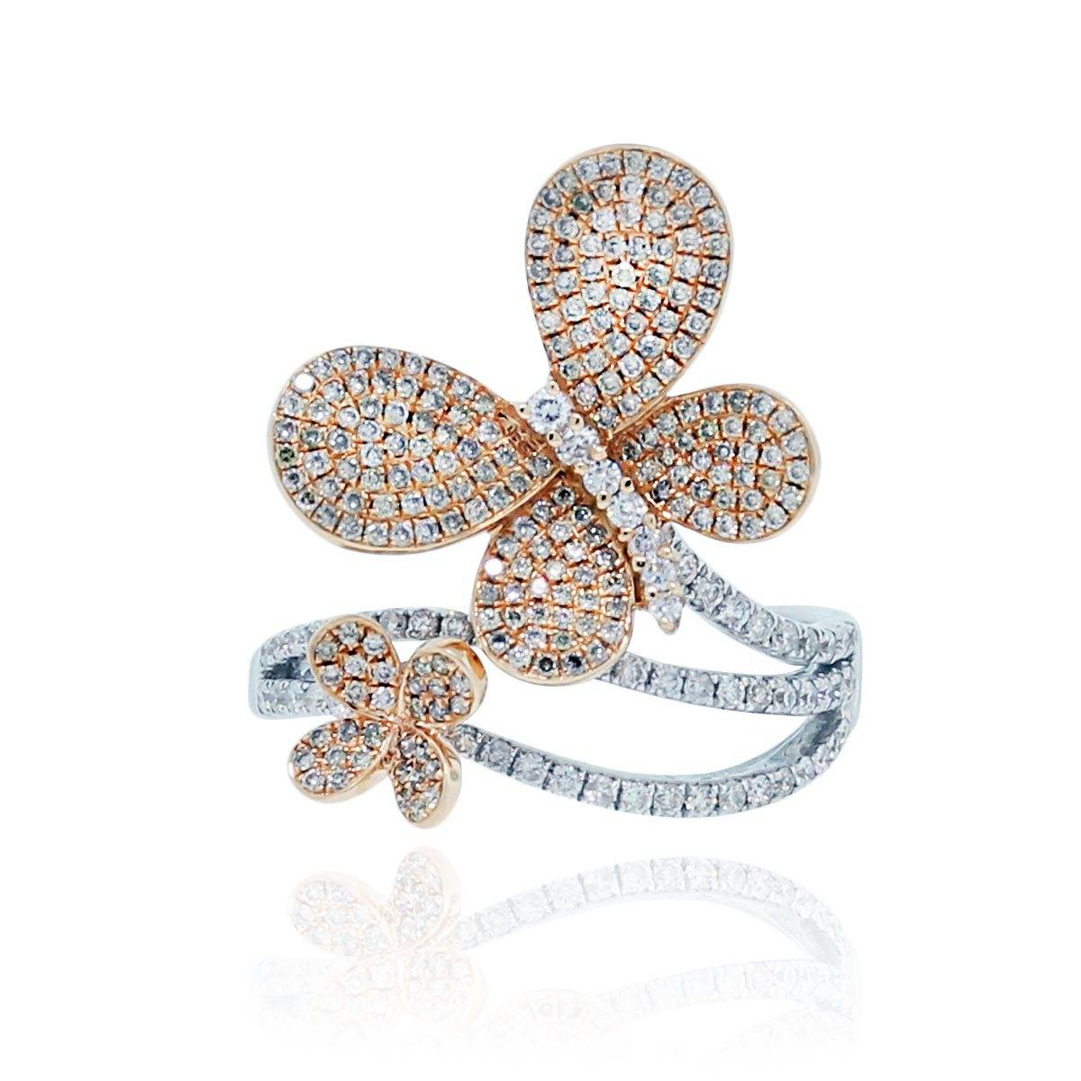 Two tone rose gold and white gold diamond pave butterfly ring