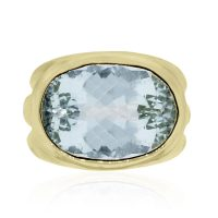 14k Yellow Gold Large Aquamarine Ring