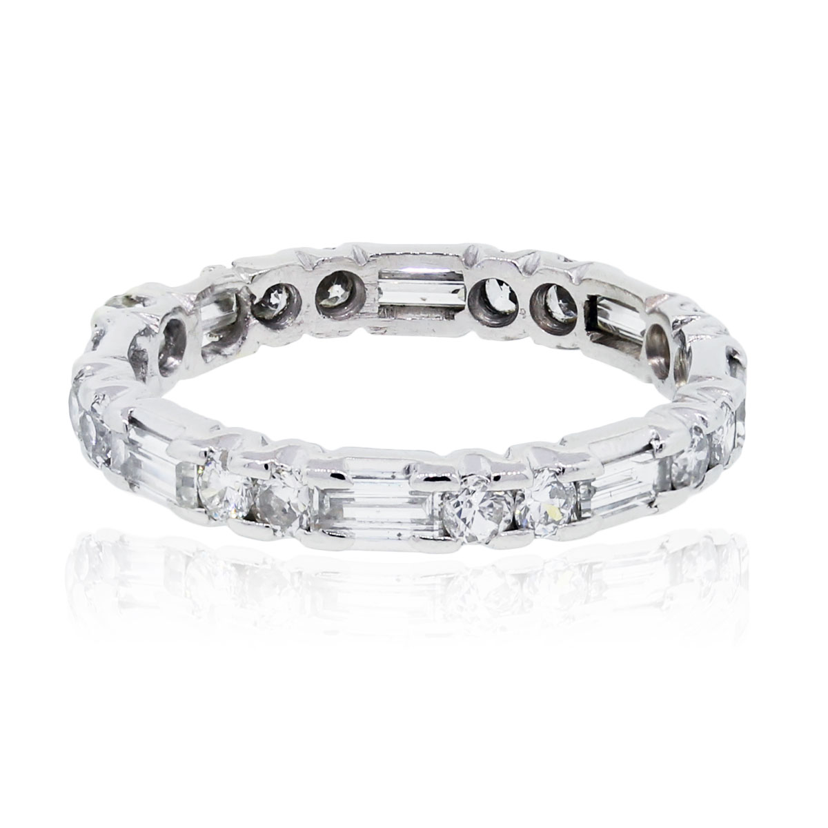 Platinum 070ctw Round And Baguette Diamond Eternity Band