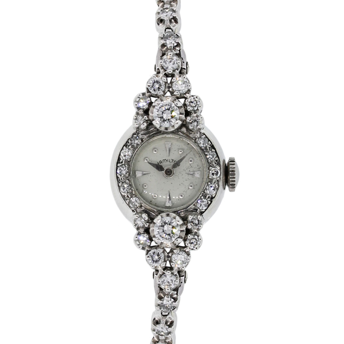 Hamilton 14k White Gold 2ctw Diamond Antique Ladies Watch