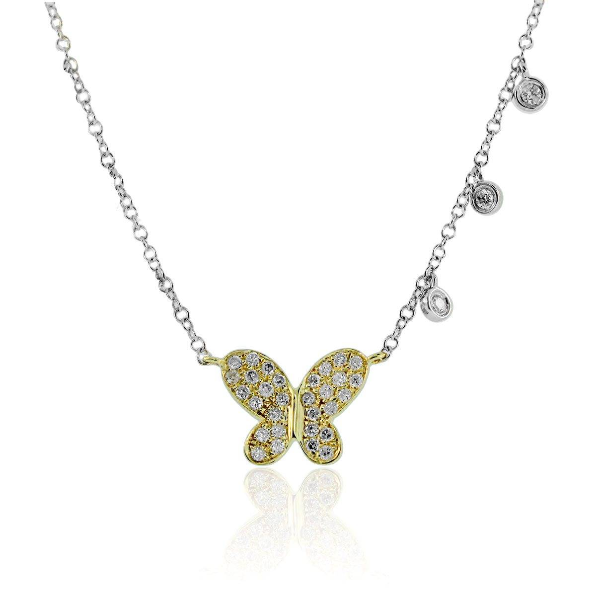 Meira T two tone butterfly pendant with diamonds