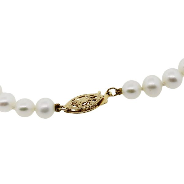 Yellow Gold 5.5mm Pearl Strand Necklace