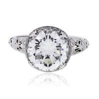 Platinum 3.01ct Round Diamond GIA Certified Engagement Ring