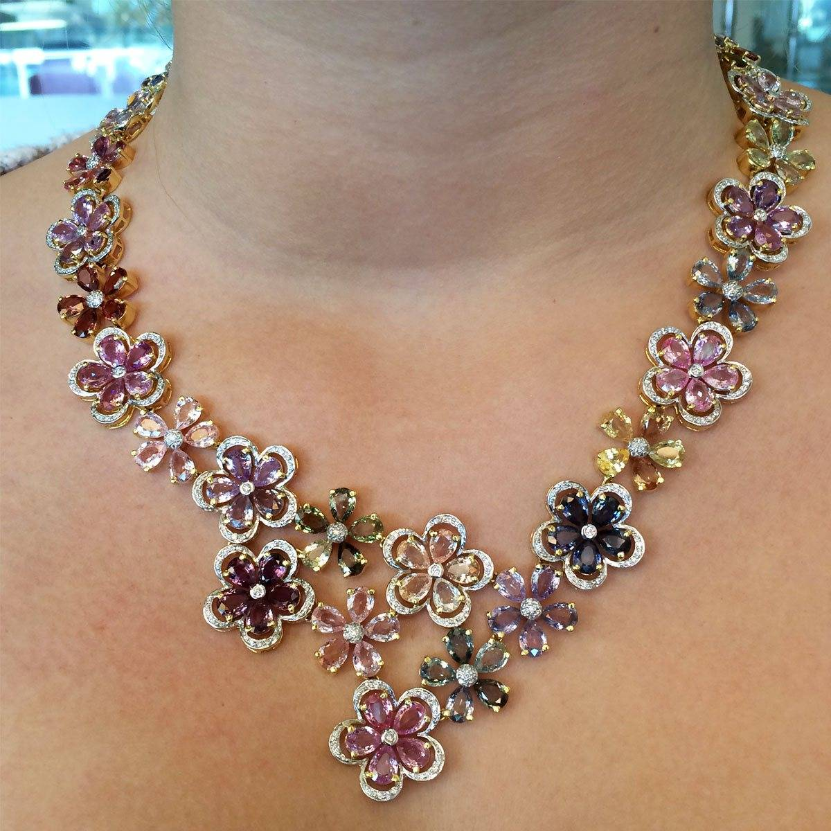 Flower sapphire and diamond necklace