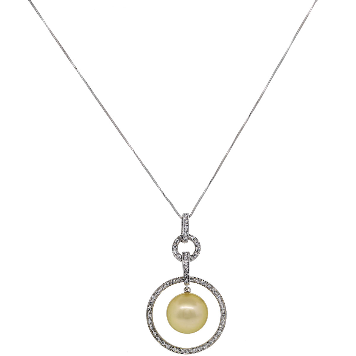 Diamond and Pearl Pendant Necklace
