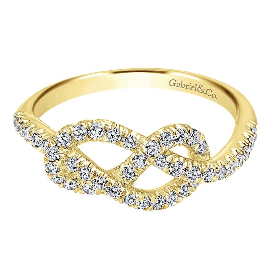 Yellow gold eternal love knot ring