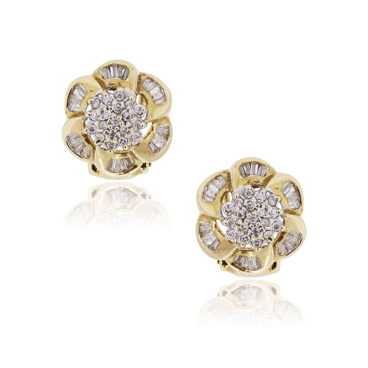 14k Yellow Gold Diamond Flower Earrings 0.80ct Round Diamonds Gold And Diamonds