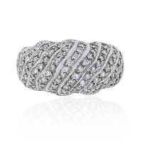 14k White Gold 0.82ctw Diamond Dome Ring