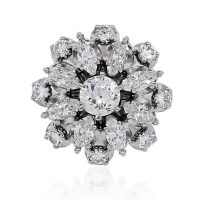 14k Two Tone 2.5ctw Round Diamond and Marquise Cluster Ring
