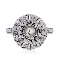 Platinum 0.50ctw Old Miner Cut Diamond Vintage Ring