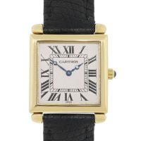 Cartier Tank Obus 1630 18k Yellow Gold on Leather Watch