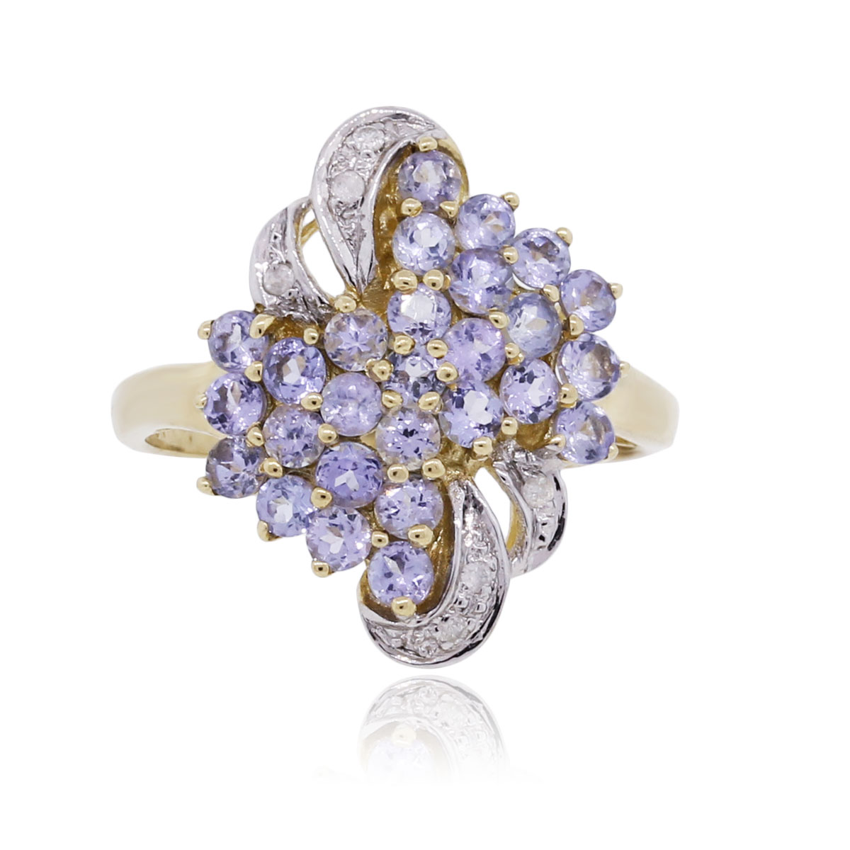 Yellow Gold Purple Tanzanite Diamond Ring