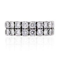 18k White Gold 1ctw Two Row Diamond Band