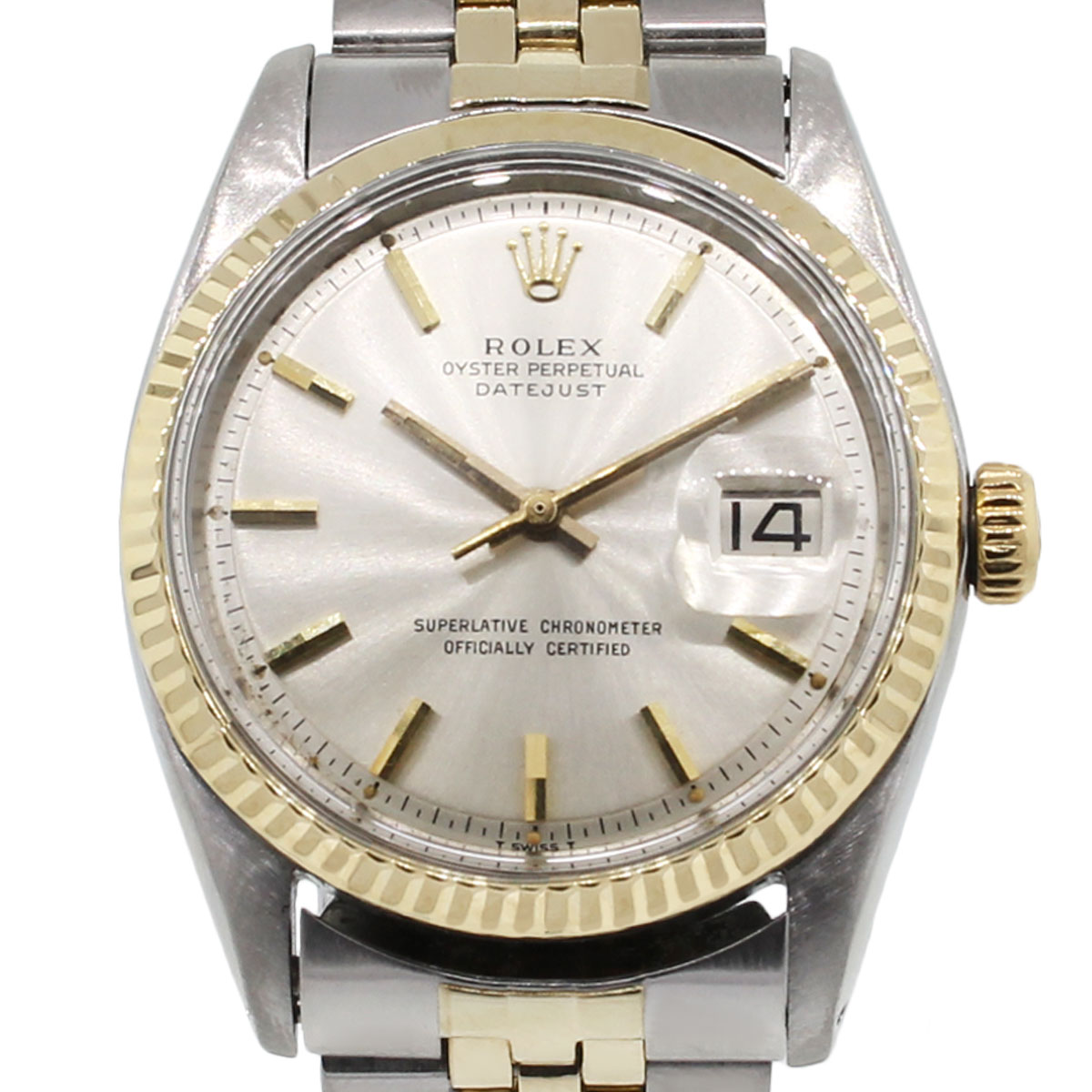 Rolex 1601 datejust two tone champagne dial jubilee band watch for Jubilee watch