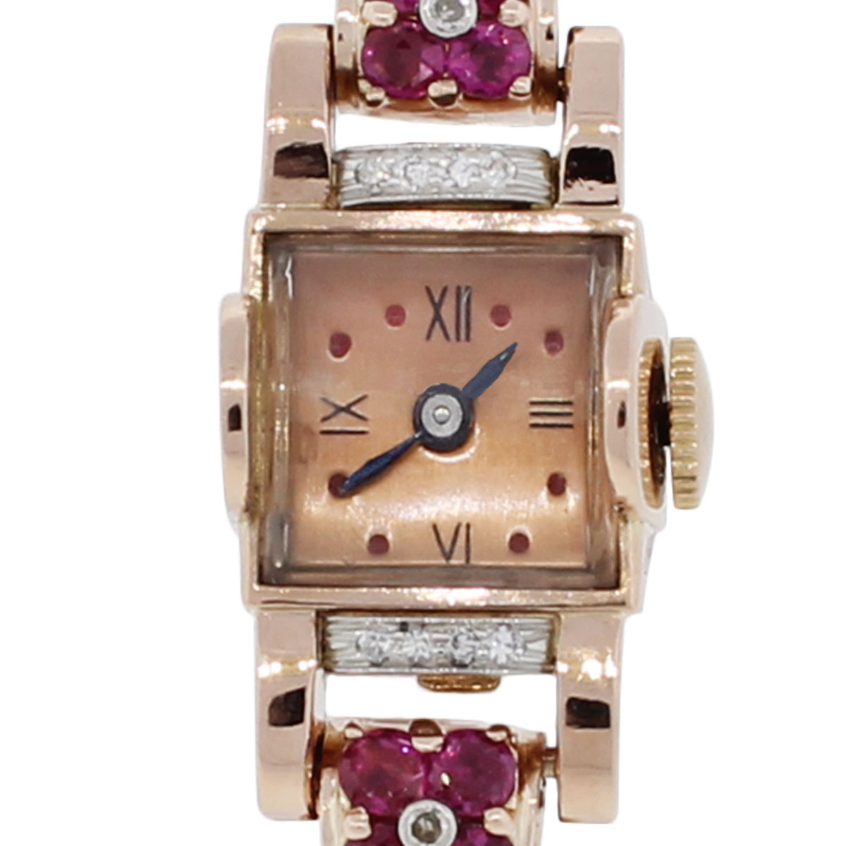 14k rose gold deco style diamond ruby ladies watch for Deco maison rose gold