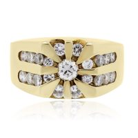 14k Yellow Gold 0.65ctw Diamond Gents Ring