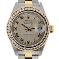 Rolex Datejust 79173 Diamond Bezel Pyramid Dial Two Tone Ladies Watch