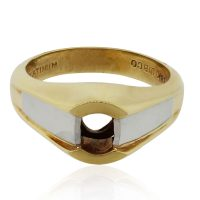 18k Yellow Gold and Platinum Bezel Ring Mounting