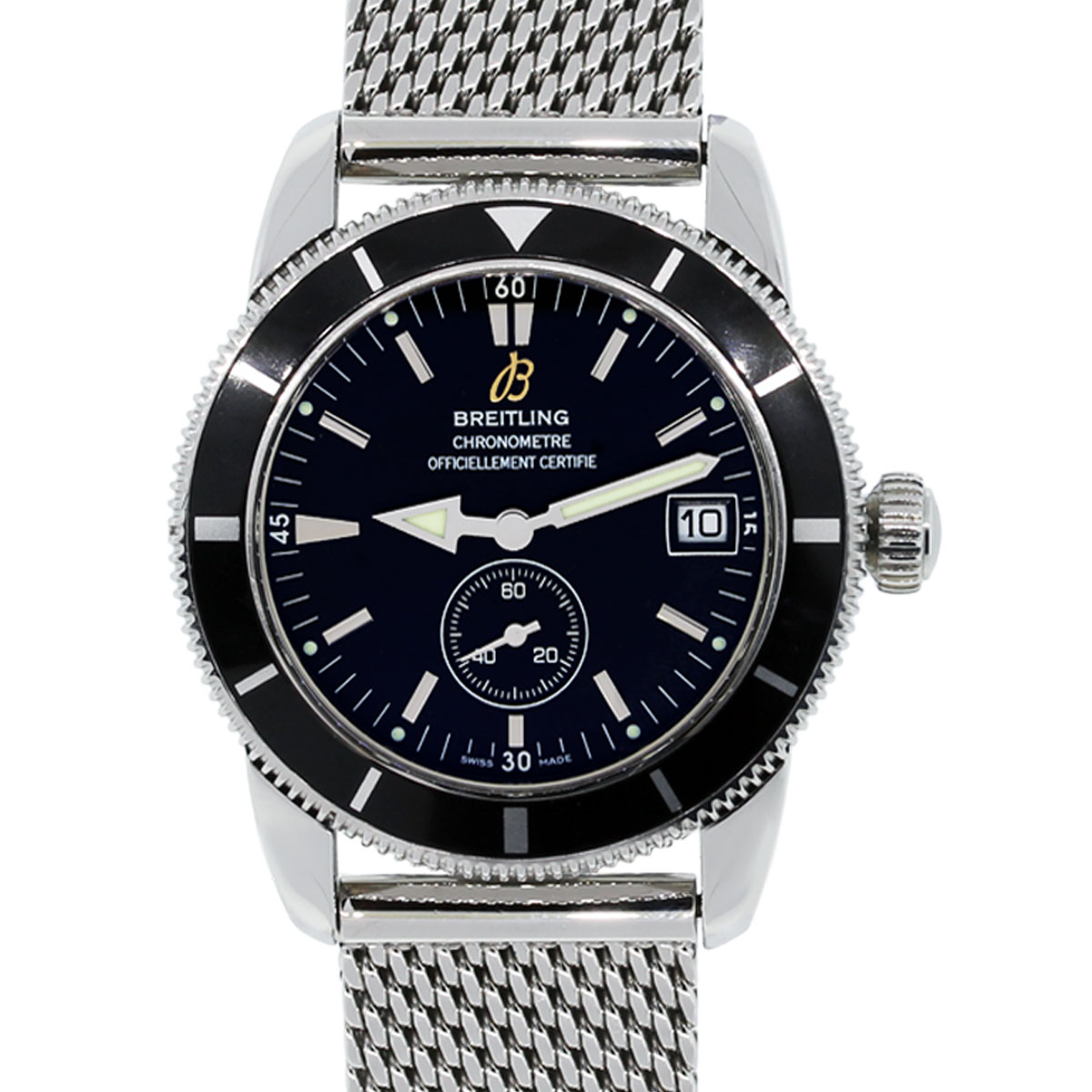 breitling a37320 superocean heritage black dial stainless steel watch. Black Bedroom Furniture Sets. Home Design Ideas