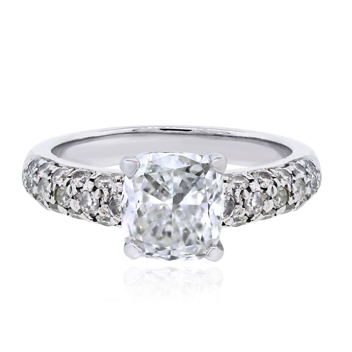 Cushion Cut Engagement Rings With Wedding Band Cushion Cut Engagement Rings No Halo Raymond Lee Jewelers