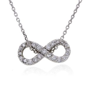 14k White Gold 0.50ctw Diamond Infinity Charm Necklace