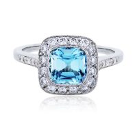 Tiffany & Co. Legacy Platinum Aquamarine and Diamond Ring