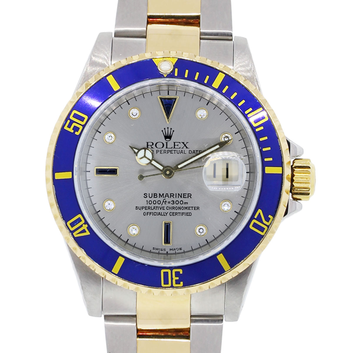 Rolex 16613 Submariner Serti Dial Two Tone Watch