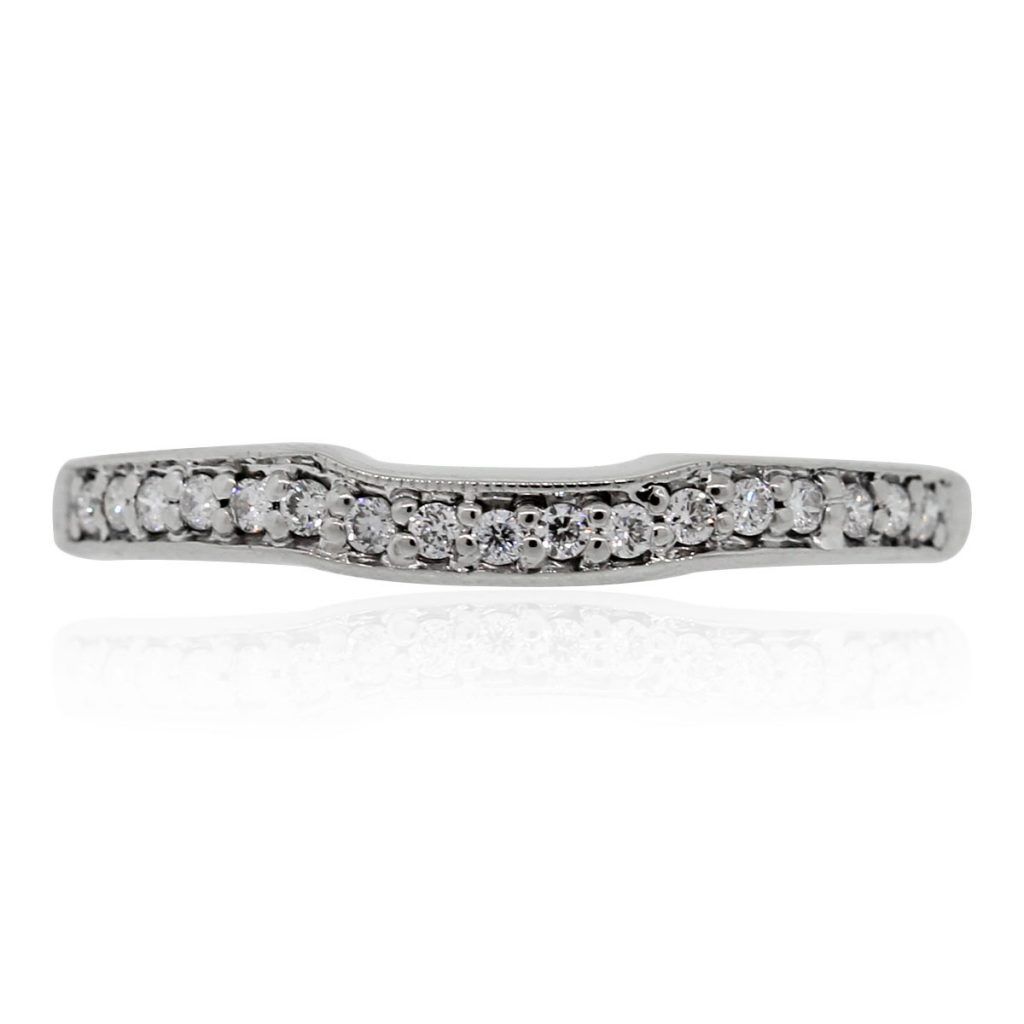 14k white gold diamond curved wedding band