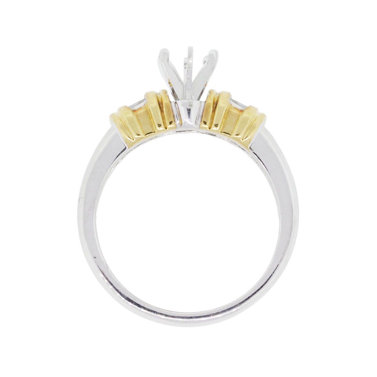 Yellow Gold Diamond Platinum: Platinum And 18k Yellow Gold 0.16ctw Baguette Diamond Mounting