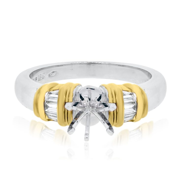Platinum and 18k Yellow Gold 0.16ctw Baguette Diamond Mounting