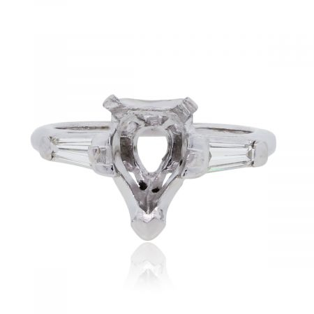 14k White Gold 0.32ctw Tapered Baguette Diamond Pear Shape Mounting