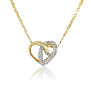 18k Yellow Gold 0.50ctw Diamond Heart Pendant Chain Necklace