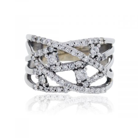 14k White Gold 1.35ctw Diamond Abstract Ring