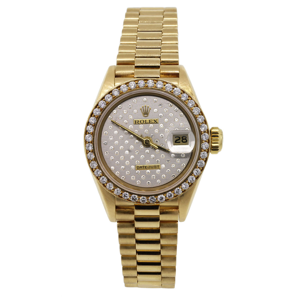 Rolex 69178 datejust gold diamond dial ladies watch for Diamond dial watch