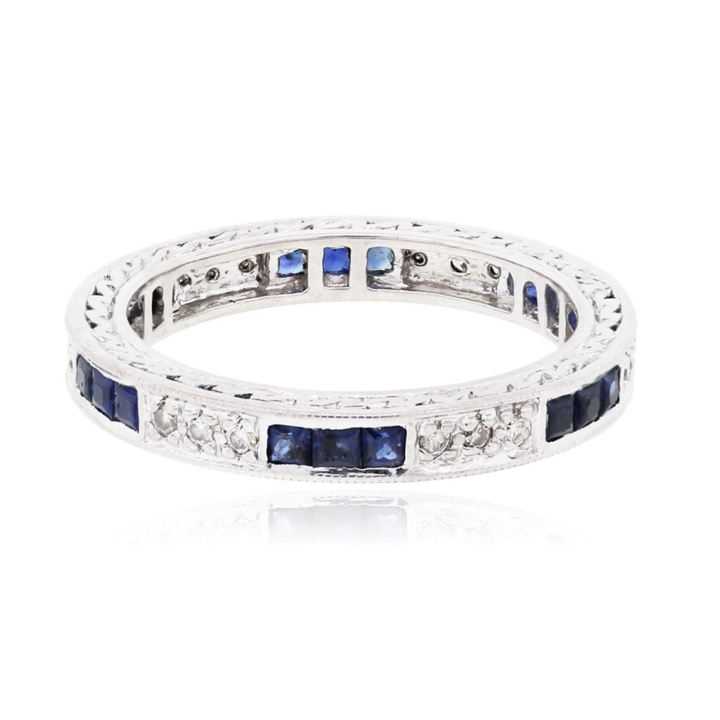 14k White Gold 0 18ctw Diamond and 0 40ctw Sapphire Eternity Band