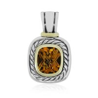 David Yurman Two Tone Large Citrine Pendant