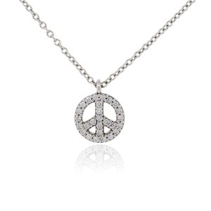 Tiffany & Co. 18k White Gold and Diamond Peace Sign Pendant Necklace