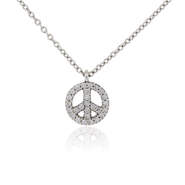 Tiffany co 18k white gold and diamond peace sign pendant necklace 18k white gold and diamond peace sign pendant necklace aloadofball Images